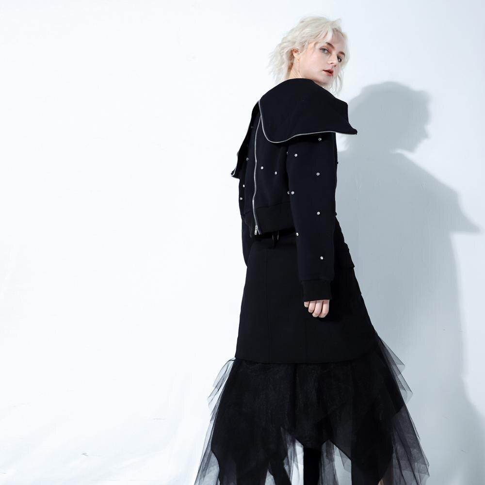 Wreeima 2019 весна осень мода уличная молния большой черный отложной воротник бриллианты Толстовка женские повседневные толстовки - 4