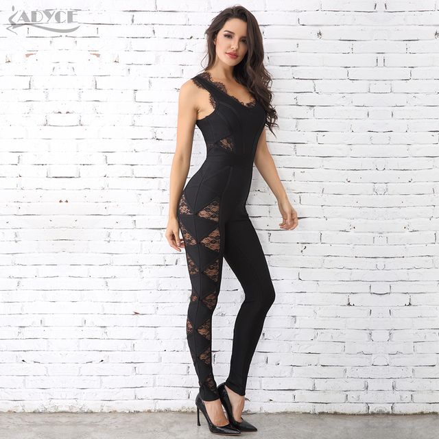 Adyce 2018 HOT SALE Women Long Rompers Black Lace O Neck Bandage Long Jumpsuit wholesale Celebrity Party Jumpsuits Clubwear 2
