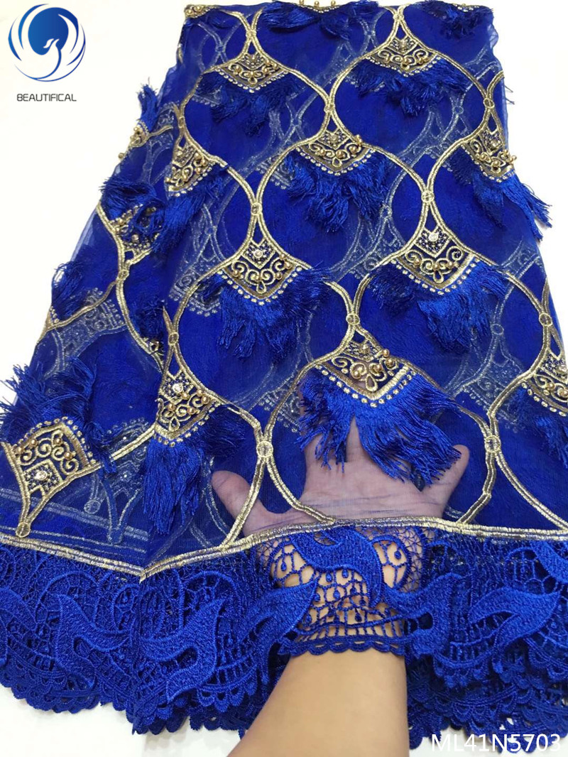 Beautifical french laces fabric new design fabric dress 2019 blue lace fabrics with beads for women 5yards/lot ML41N57