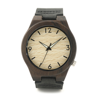 2016 Newest Black Wooden Wristwatch For Men Fashion Gift For Christmas With Genuine Leather Straps Groomsmens