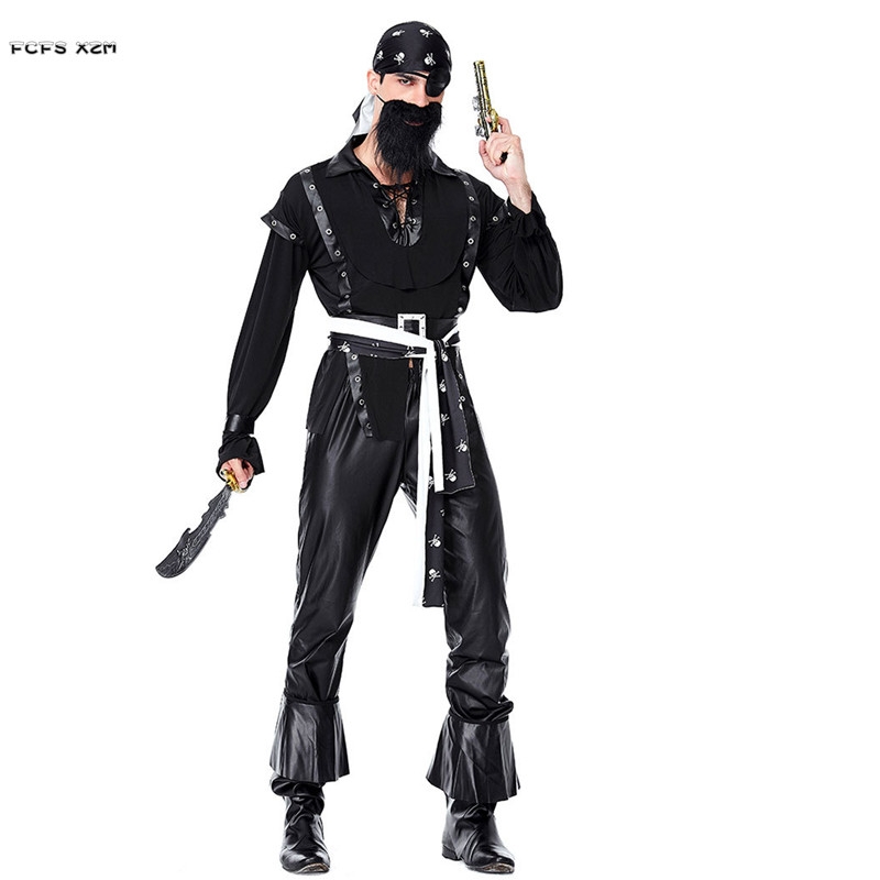 Adult Halloween Pirate costumes for Men Black beard pirate Cosplays Purim Carnival Nightclub Masquerade masked ball Party dress