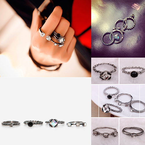 4Pcs Women Retro Punk Rhinestone Rings Set Mid Finger Stack Ring Fashion Jewelry