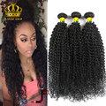 Pelo peruano de la virgen rizada rizada 3 unids/lote natural negro # 1b ali queen hair products barato paquetes armadura del pelo humano peruano 100g
