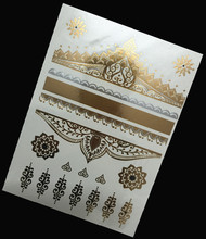 1Pcs Silver Gold Temporary Tattoo Metal Tribal Golden Tattoos Jewelry Design Flash Metallic Sticker On Body Hand Women
