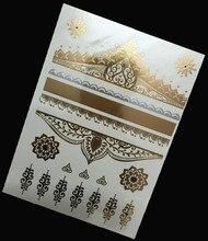 1Pcs Silver Gold Temporary Tattoo Metal Tribal Golden Tattoos Jewelry Design Flash Metallic Sticker On Body Hand Women