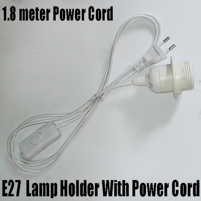 1.8m Power Cord Half Spiral Lamp Holder, E27 Base with Round Plug and Switch, No Greater Than AC250V 2.5A
