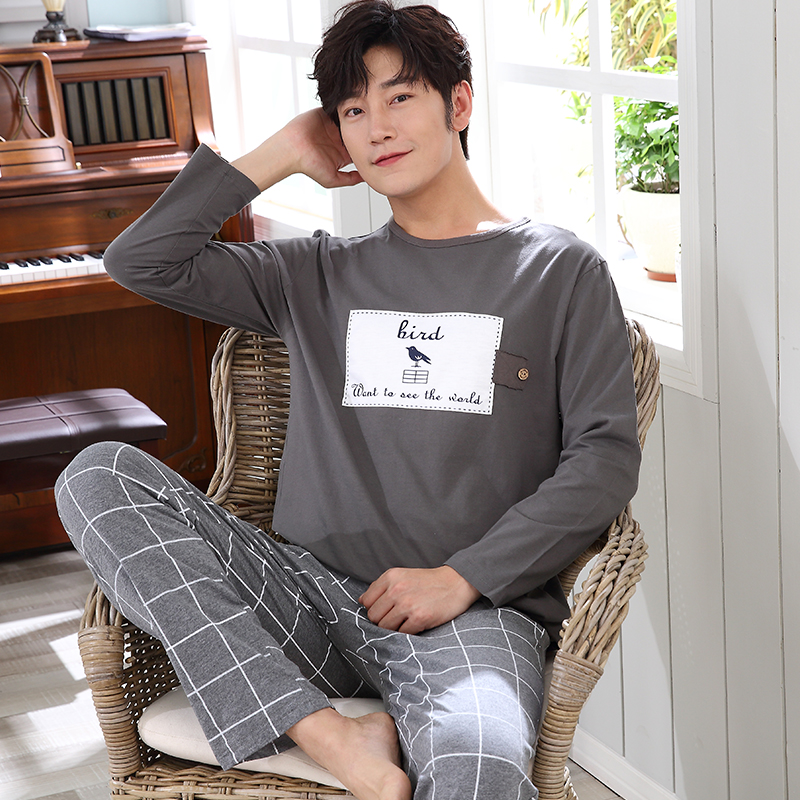 Pajamas Men Autumn Winter Mens Pyjamas Cotton Stripe Pajamas O neck Long sleeve Sleepwear Casual Men