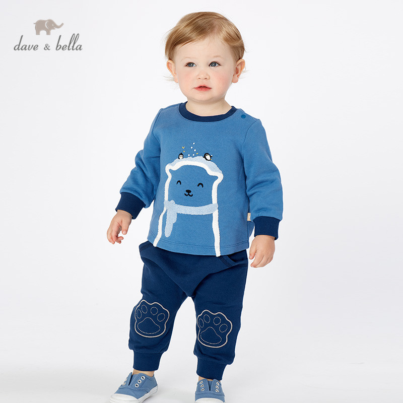 DBJ10978 dave bella autumn baby boys fashion clothing sets long sleeve pants suits children print clothes