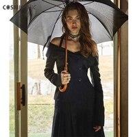Cosmicchic пиджак женский, черный комплект из 2 частей с Shouldr куртка с длинными рукавами плиссированные юбки дизайнер Для женщин Модный комплект