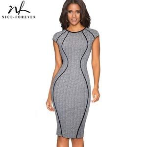 Image 1 - Güzel sonsuza kadar Vintage optik Illusion çalışmak vestidos Bodycon kılıf kadın ofis iş parti zarif elbise B458