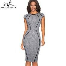 Nizza per sempre Vintage Optical Illusion Indossare al Lavoro abiti Aderente Fodero Delle Donne Ufficio di Affari del partito Vestito Elegante B458