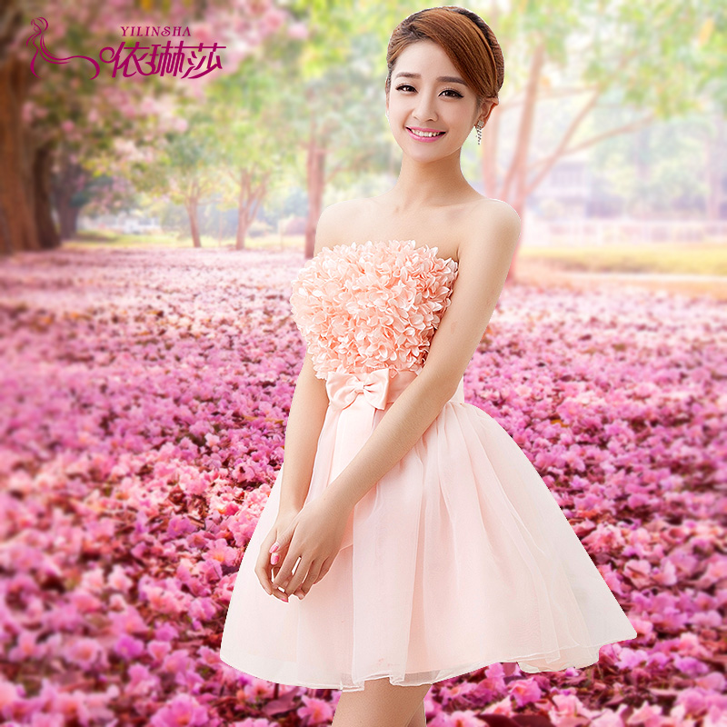 Princess Mini Strapless Chiffon Bridesmaid Dress Wedding Party Pink Short Y Women Summer Autumn Dresses Plus Size In From S