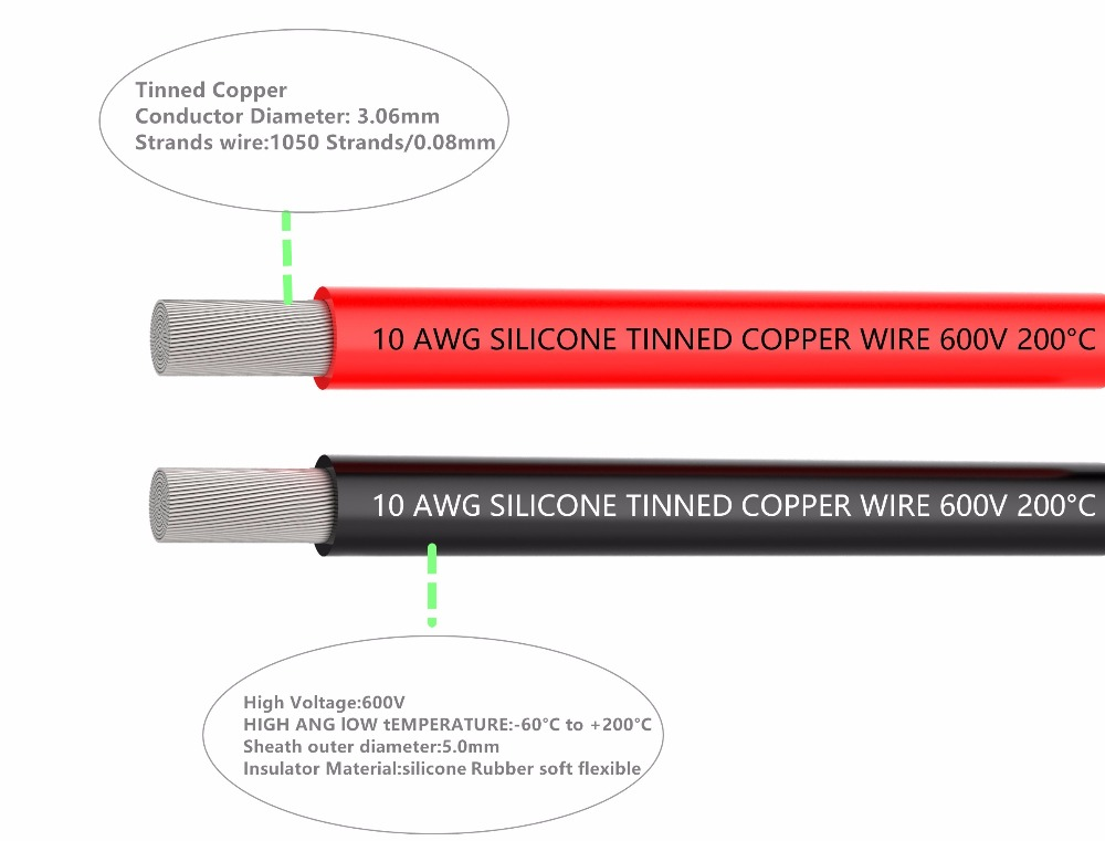 Electrical Wire 10 AWG Silicone Wire 10 Gauge Hook Up wire Cables 3 m Black And 3 m Red Soft and Flexible of Tinned copper wire