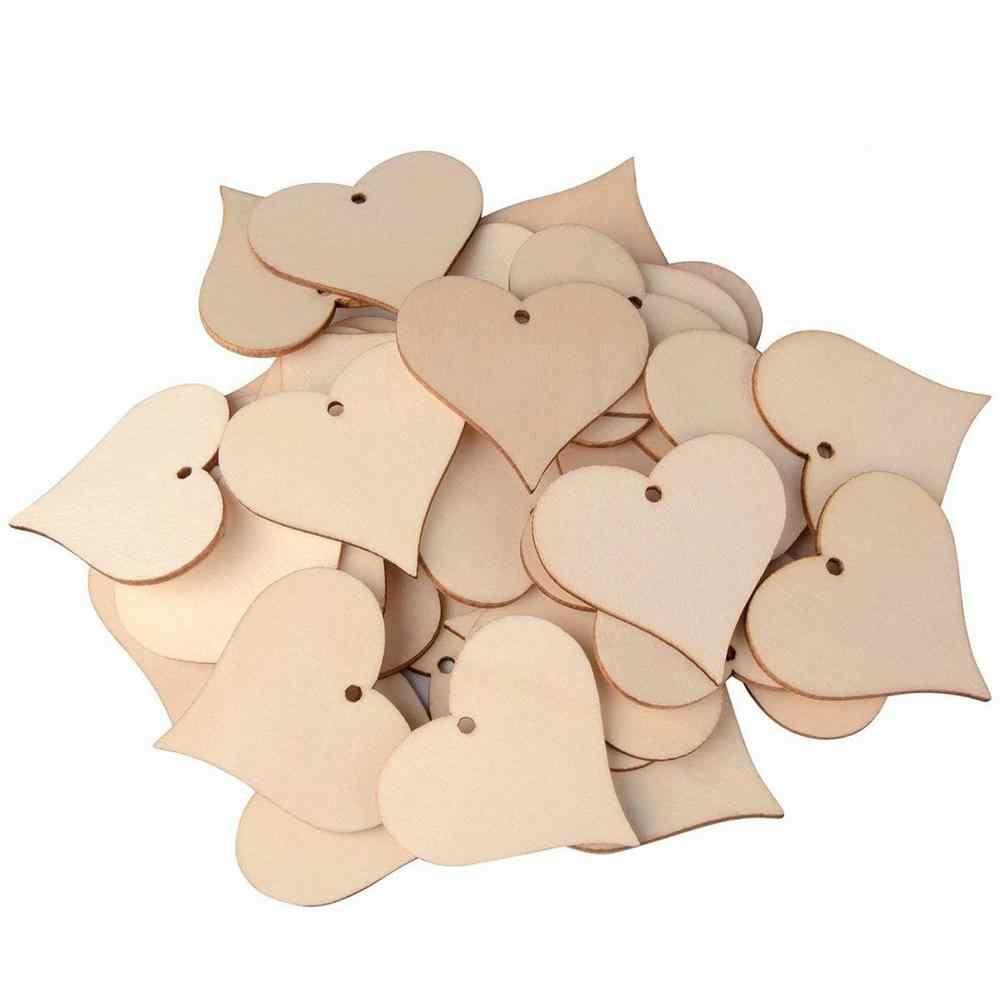 Деревянные ломтики сердца любви пустые ярлыки названия деревянные Этикетки Искусство ремесло штук для свадьбы DIY проекты изготовление карт