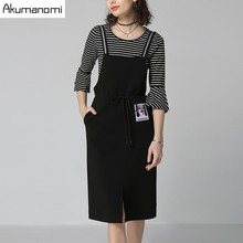 2 Piece Set Striped Flare Three Quarter Sleeve T-shirt Lace Up Appliques Open Stitch Sling Dress Spring Two Piece Set Plus Size