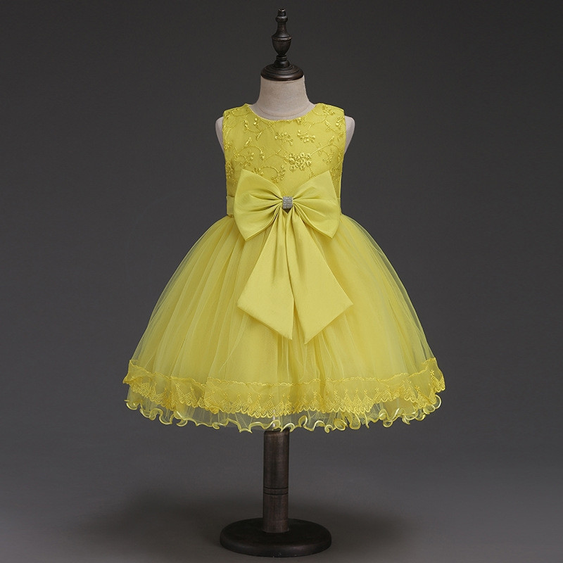 Yellow Flower Girl Dress with Big Bow Belt Wedding Birthday Party Kids Clothes 2018 Summer Princess Dresses Size 3-12 Pageant new christmas flower girls dress lace embroidery trumpet wedding pageant birthday summer princess party dresses clothes 3 12yrs