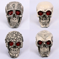 Halloween Skull Bones With Red LED Light Halloween Party Decoration Props Haunted House Dress Up Resin Simulation Skull