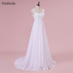 Weilinsha Cheap Stock Beach Wedding Dress Chiffon Lace Long Wedding Gowns Pregnant Bridal Dresses Plus Size Robe De Mariage 4