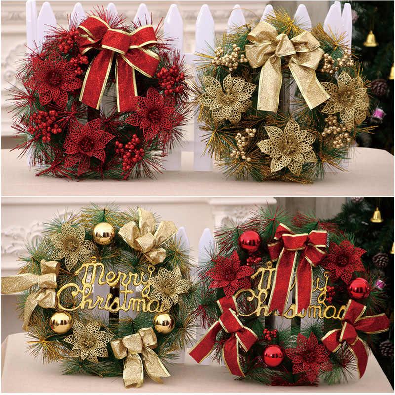 1 шт., Рождественский венок, искусственная Цветочная подделка, сосновый лист, новогоднее, Рождественское украшение для дома, гирлянда