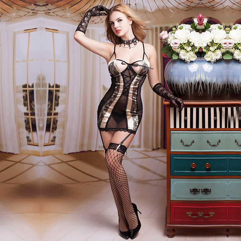 Sexy Black Mesh Babydoll Nightwear Dress Women's Hot Erotic Back Cutout Nightgown Lingerie Underwear