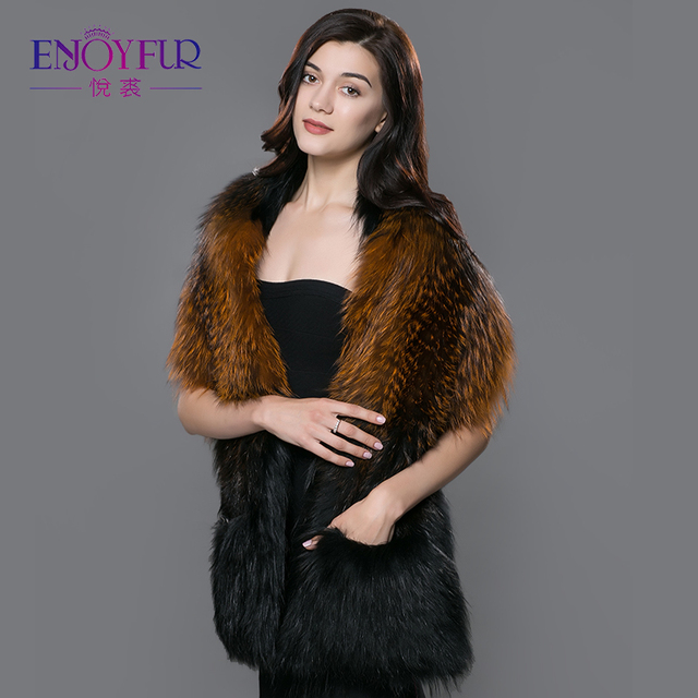 Women's fur scarves real fox fur shawl knitted fox fur pashmina with pocket warm women scarf good quality handwork fur scarf