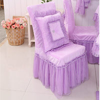 New purple lace yarn chair cover princess bow chair covers bedroom living room chair covers for wedding decor velvet texitle