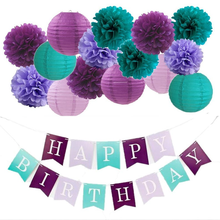 16PCS Mermaid Tissue Paper Pompoms Purple Teal Party Kit Hanging Lantern Happy Birthday Banner for Wedding Birthday Decoration(China)