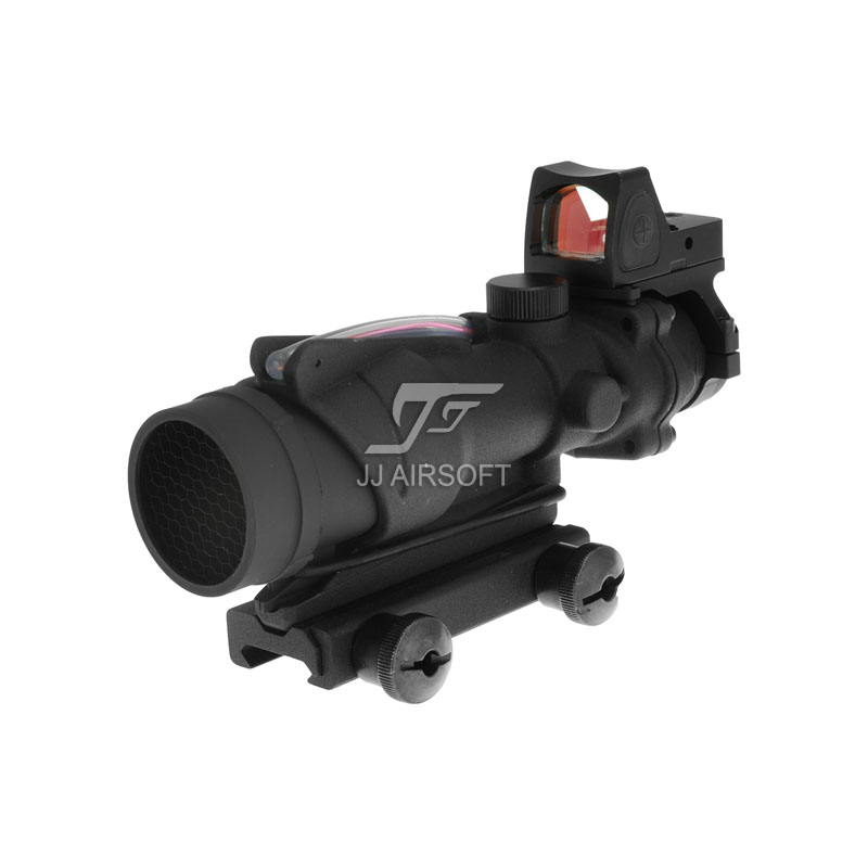 JJ AIRSOFT ACOG 4x32 TA31 Red Fiber Illuminated Red Crosshair Rifle Scope & RMR Red Dot Combo Buy one get one FREE Killflash the red one