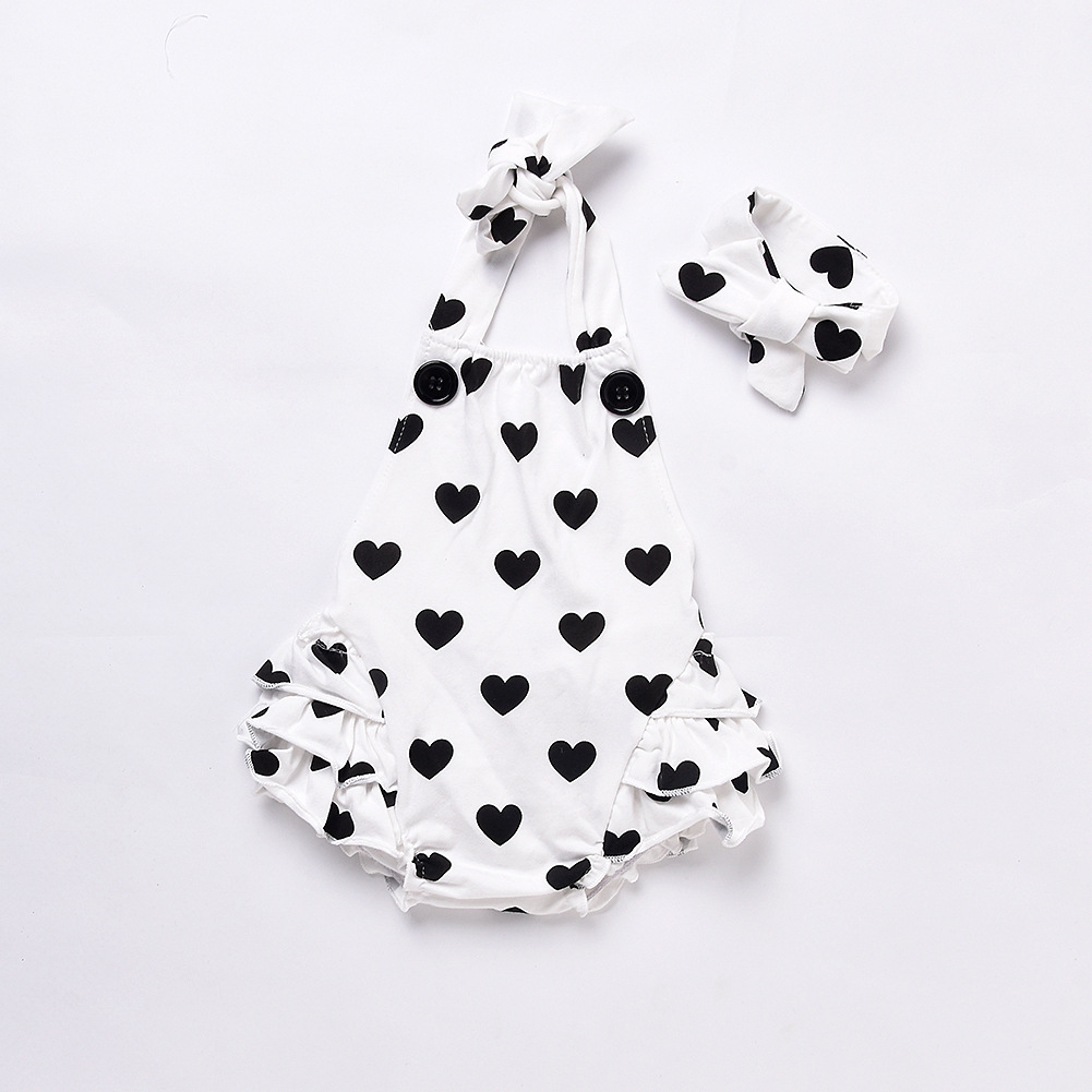 Cotton Infant Romeprs Halter Cotton Ruffles Heart Printed Baby Romper + Headband Kids Onepiece Newborn Clothing