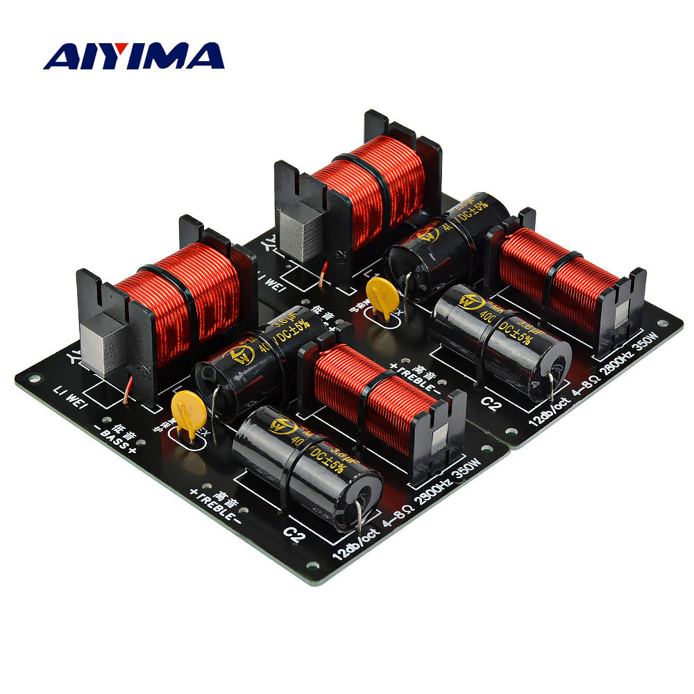 Aiyima 2pcs 350W 2 Ways Crossover Audio Board Tweeter Bass Speaker Frequency Divider 2 Unit For 4-8Ohm DIY Speaker Filter 2800HZ aiyima 2pc speaker 2 way audio frequency divider treble bass 2 unit crossover filters 80w bookshelf hifi speaker divider