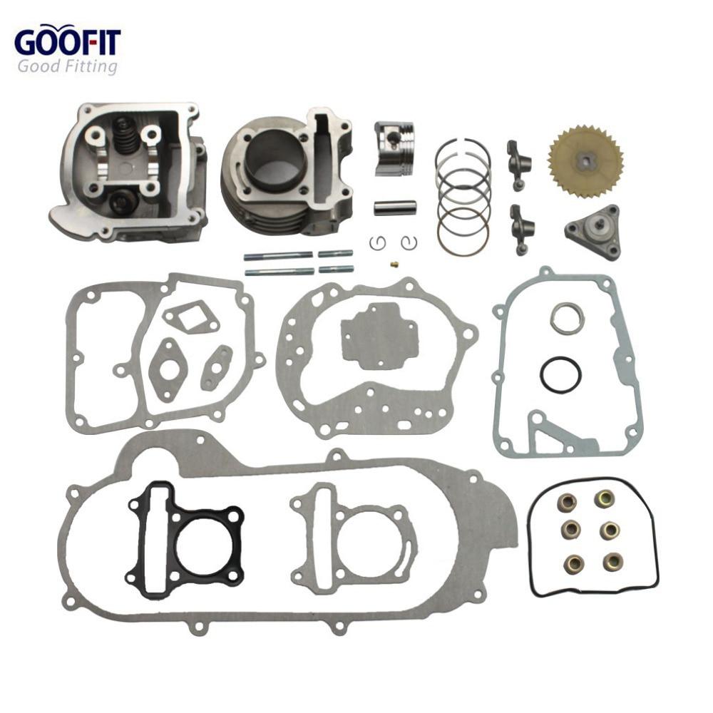 GOOFIT мотоциклами большой Диаметр цилиндра 50мм восстановить набор gy6 50куб 139qmb запчастей для гоночных скутеров 64мм Клапан группы-11