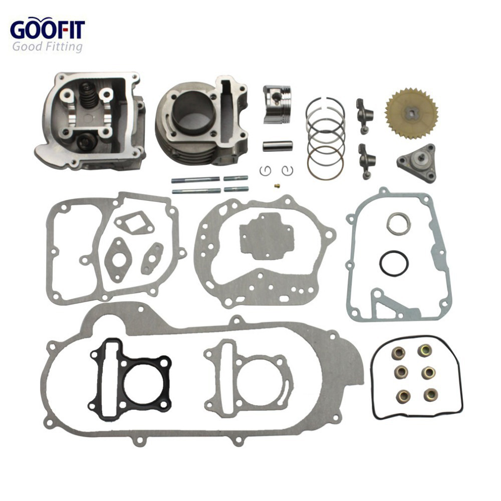 GOOFIT motos grand alésage 50mm cylindre Kit de reconstruction Gy6 50cc 139qmb pièces de Scooter de course 64mm groupe de Valve-11