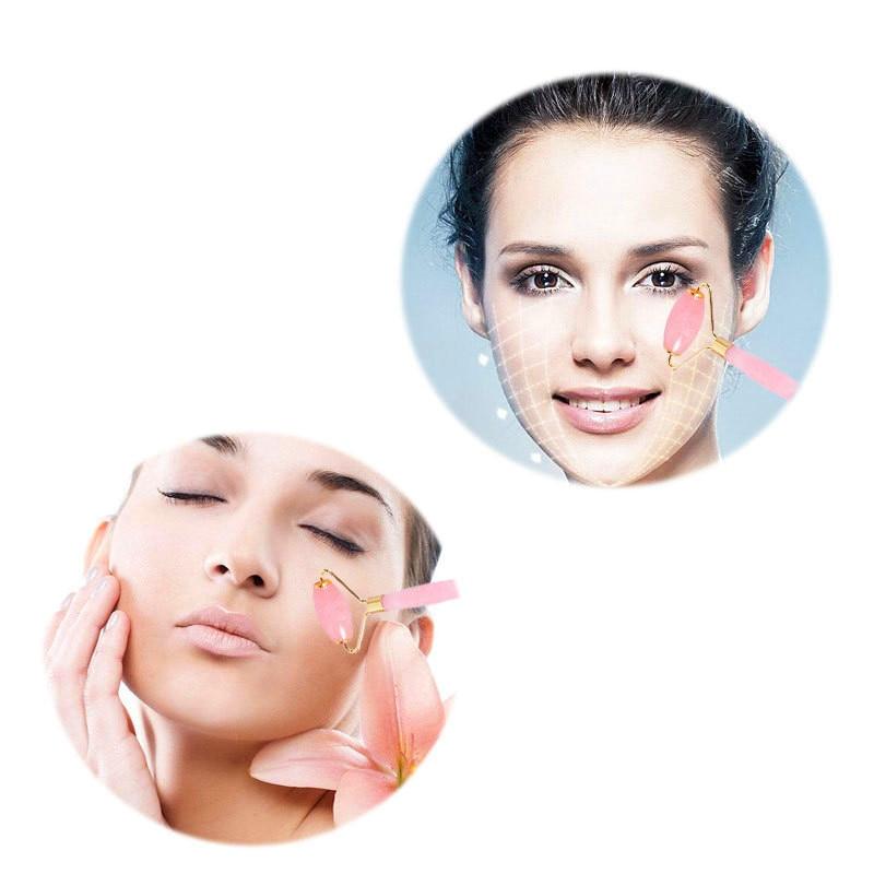 Розовый КВАРЦЕВЫЙ ролик для похудения Массажер для лица инструмент для лифтинга натуральный нефрит массажный ролик для лица камень массаж кожи красота уход набор коробка