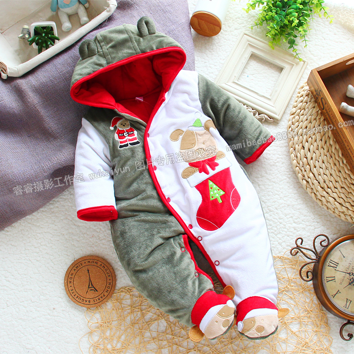 2014 new year autumn Winter rompers baby clothes newborn baby boys christmas cotton romper infant overall kids clothes new 2016 autumn winter kids jumpsuits newborn baby clothes infant hooded cotton rompers baby boys striped monkey coveralls