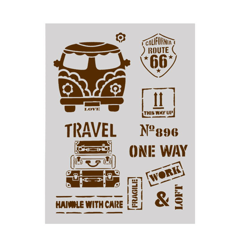 A4 Size DIY Painting Craft Retro Bus Pattern Stencils Template For Wall T-Shirt Wood Furniture Painting Decorative Emboss Cards