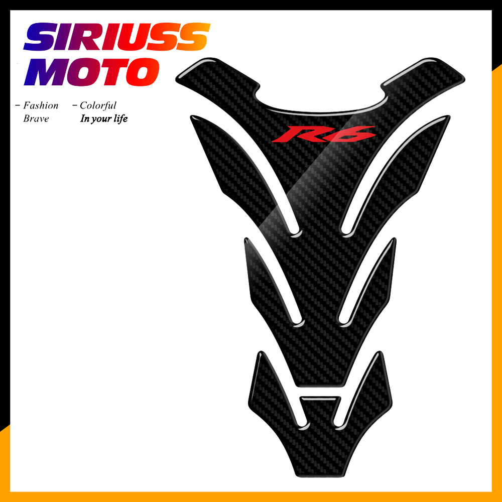 3D Carbon Look Motorcycle Tank Pad Protector Stickers Case For Yamaha YZF-R6 R6 Tank Decals