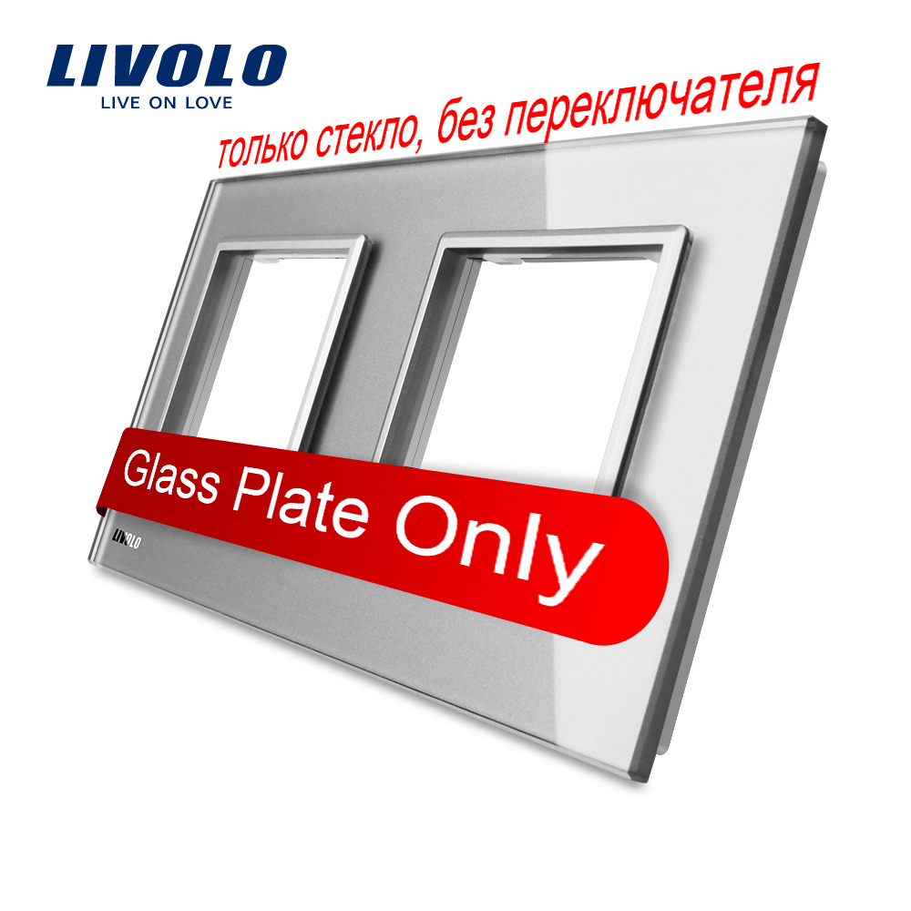 Livolo Luxury Grey Pearl Crystal Glass, 151mm*80mm, EU standard, Double Glass Panel For Wall Switch&Socket,VL-C7-SR/SR-15