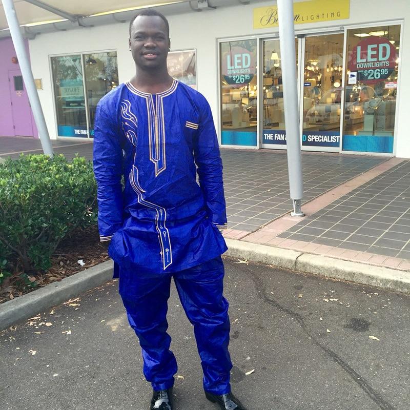 H&D (Besplatna dostava) Afrički čovjek modni dizajn Bazin Riche vez - Nacionalna odjeća - Foto 3