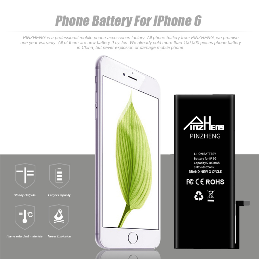 2019 PINZHENG High Capacity Phone Battery For iPhone 6 6S 4 Replacement Batterie 0 Cycle Battery For iPhone 6 6S With Tools Kit