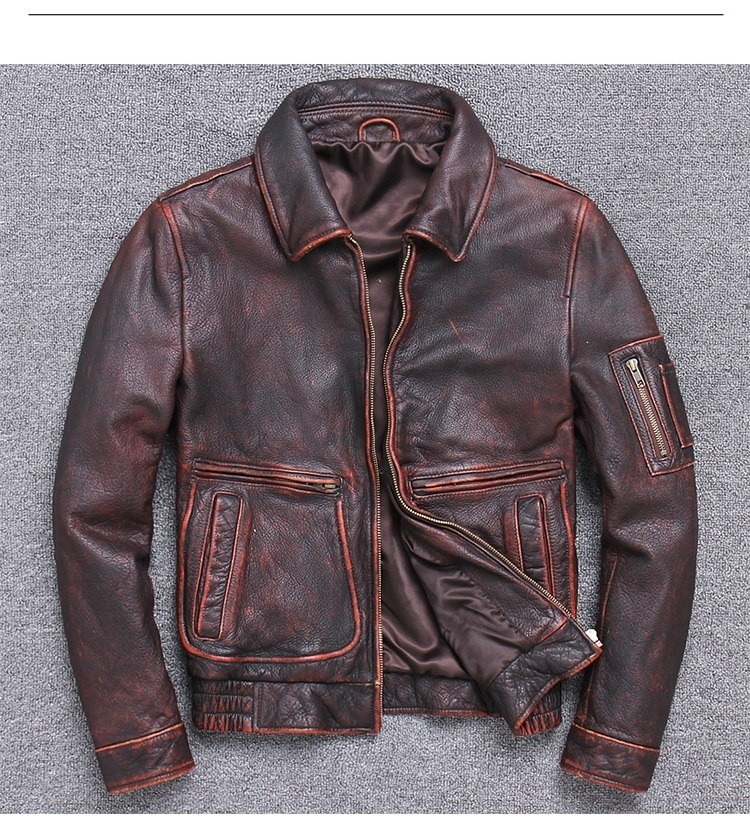 Free shipping.sales Brand classic A2 coat,mens cowhide Jackets,men's genuine Leather jacket.man vintage brown coat plus size
