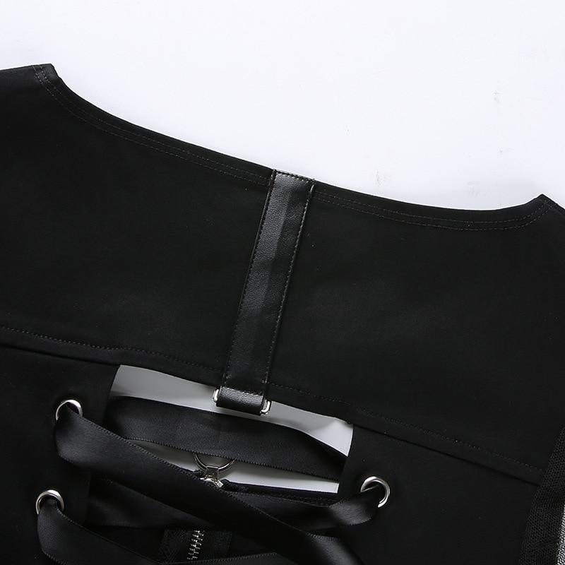 women tops pole dance wear sexy zipper front tie back crop tops puff sleeve black shirt for women night club clothing