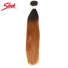 Sleek Ombre Brazilian Hair Straight T1B/30 Human Hair Weave Bundles Deal Two Tone Non Remy Hair 1 Piece Weft Extensions 10 to 22(China)