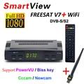 [Genuine] Freesat V7 Receptor HD Por Satélite Completa 1080 P DVB-S2 HDMI Set Top Box Suporte Cccam Newcan Powervu Youpron + 1 PC USB WiFi