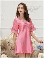 Women Nightwear Long Robe Pink Silk Robe Woman Nightwear Silk Gown Satin Kimono Robes For Women