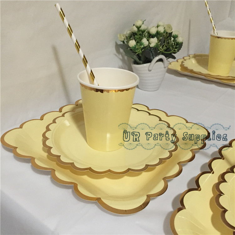 8 Sets Custard Yellow with Gold Foil Dessert Table Setting Dinner Paper Plates Cups Straws Napkins Birthday Baby Shower Decor ...
