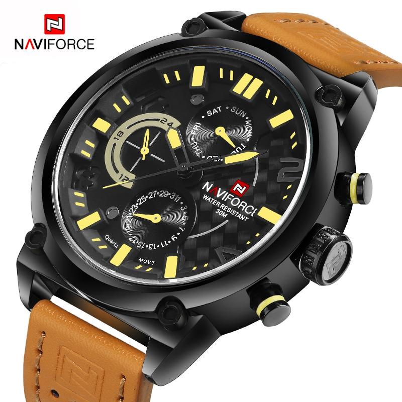 NAVIFORCE Men Fashion Casual Big Dial Quartz Analog Wristwatches Luxury Brand Waterproof Sports Watches Male Relogio Masculino цена 2017