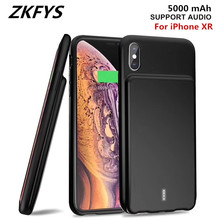 ZKFYS For iPhone XR Support Audio 5000mAh Portable Ultra Thin Fast Battery Charger Case  External Power Bank Charging