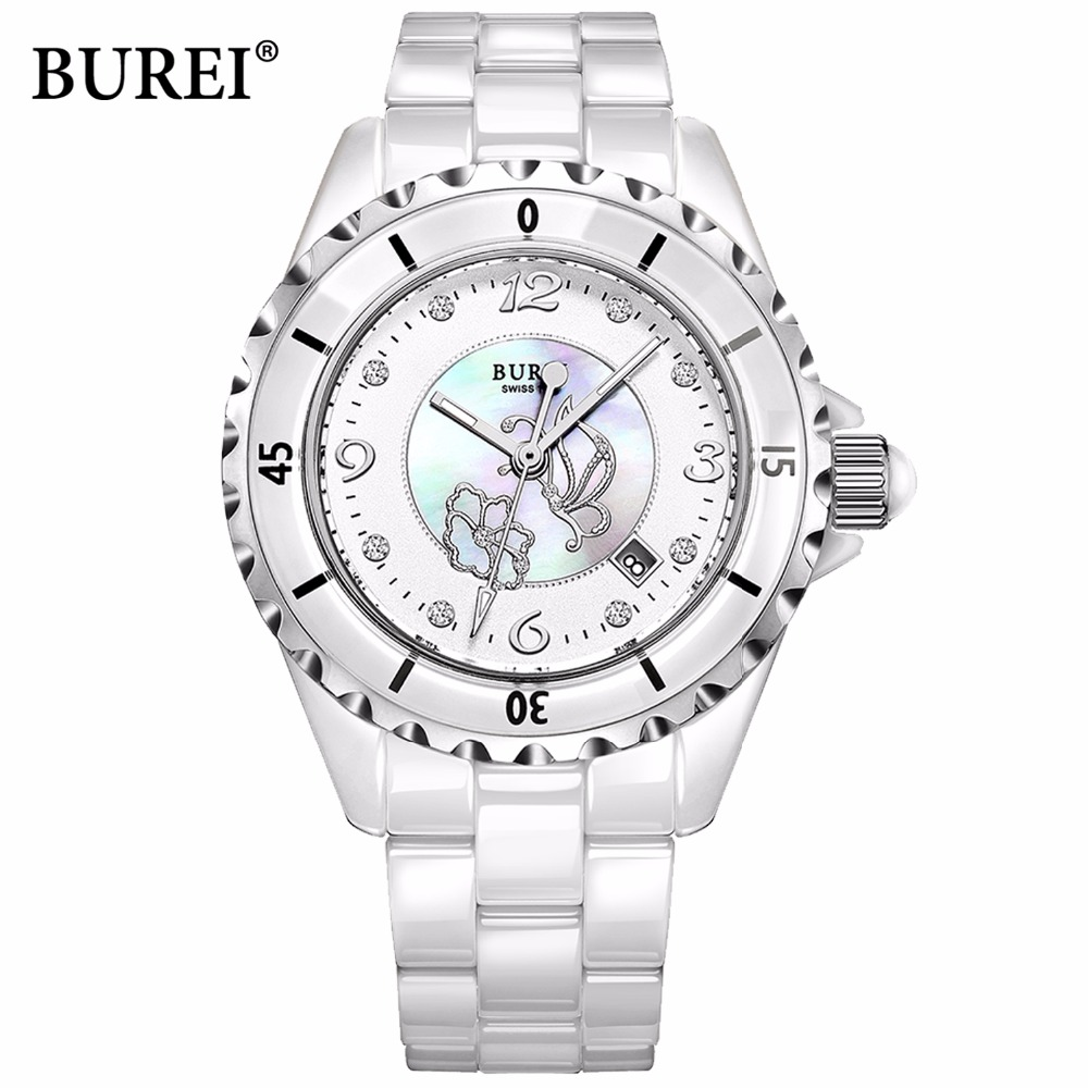 BUREI luxury AAA Austria rhinestone waterproof woman font b watch b font 2016 ladies ceramic font