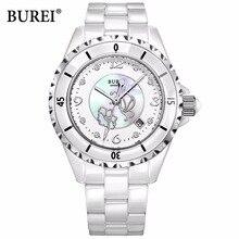 BUREI AAA Austria rhinestone impermeable reloj de la mujer 2016 señoras de cerámica de lujo relojes de las mujeres de cuarzo-reloj para Niñas SL-18001-P2
