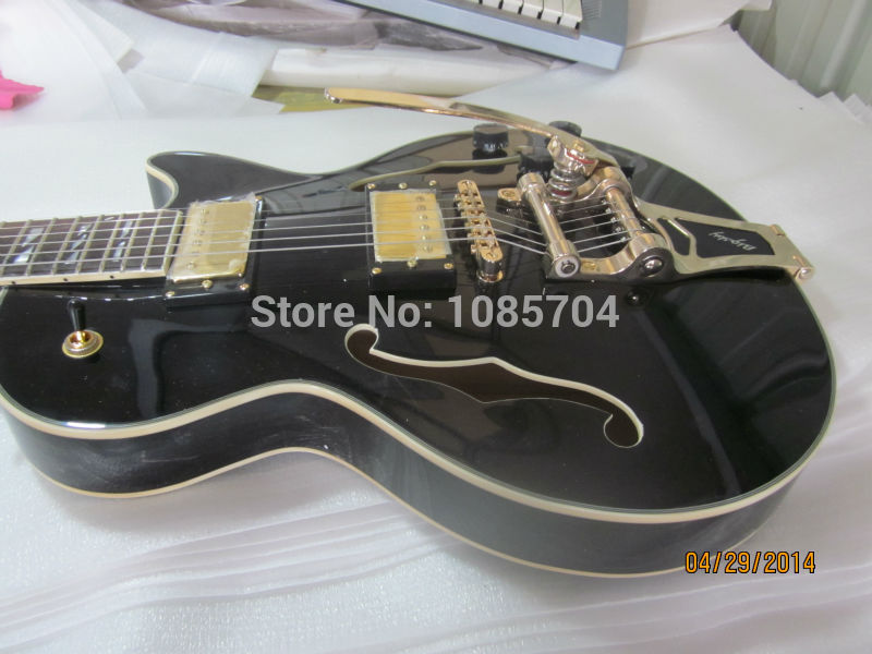 Electric guitar jazz hollow guitarra/lp custom black color/with bigsby electric guitar/oem guitar in china china s oem firehawk custom shop electric guitar lp color shell inlays color binding double water ripple